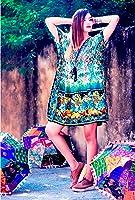 Hastkala Women's Fashion Short Length Kaftan Dress Print