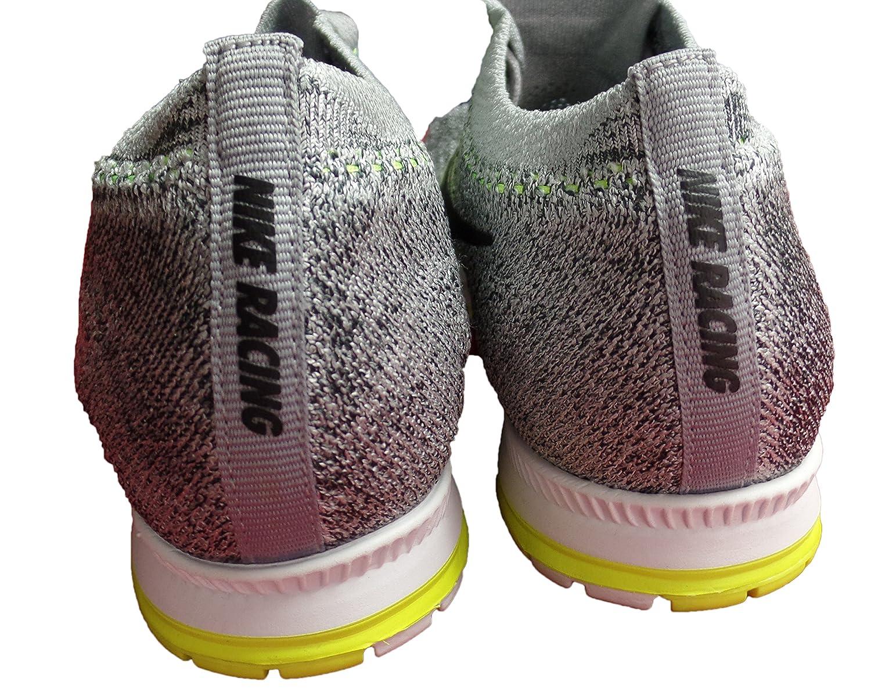 NIKE Unisex Flyknit Racer Running Shoe B071G243JC Mens 4.5/ Wmns 6|Grey/ Volt/ Black/ White