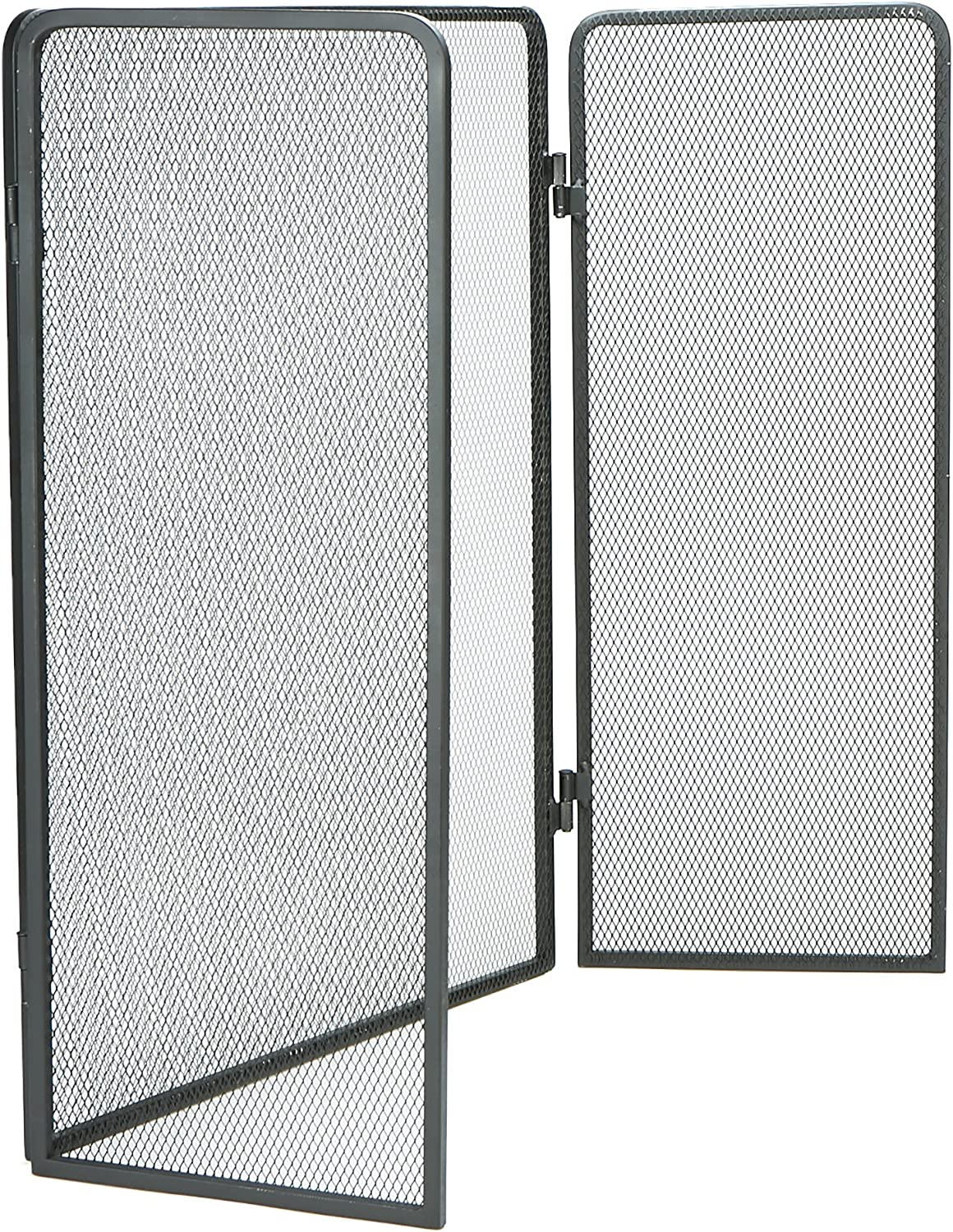 Mind Reader FIRESCREEN-BLK 3 Panel Fire Place Screen Door Panel with Double Bar Black Finish, Black