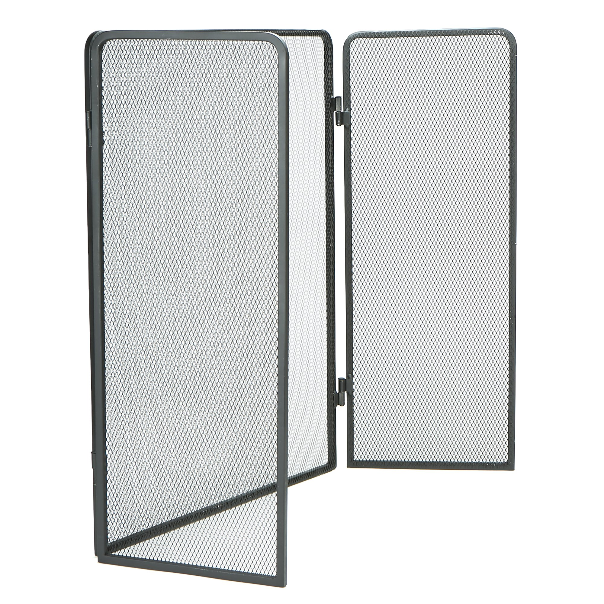 Mind Reader FIRESCREEN-BLK 3 Panel Fire Place Screen Door Panel with Double Bar Black Finish, Black by Mind Reader