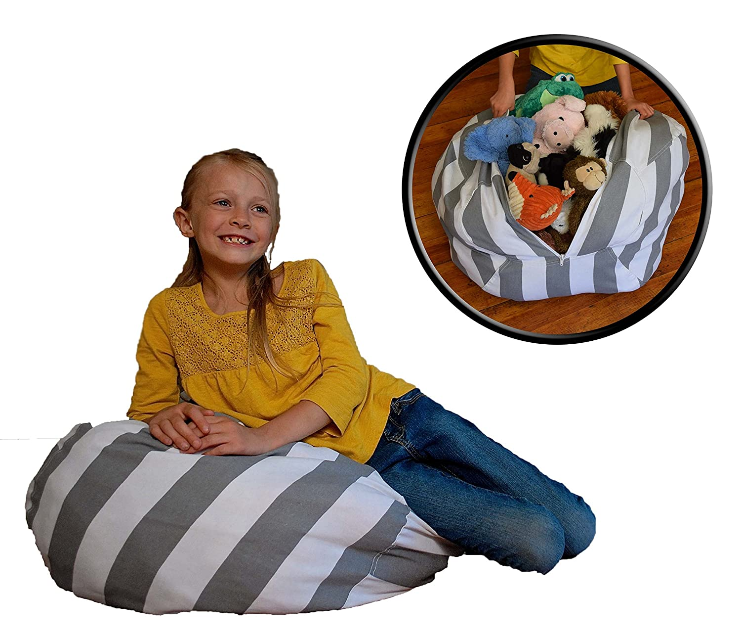 Stuffed Animal Storage Bean Bag Chair - Clean up the Room and Put Those Critters to Work for You!