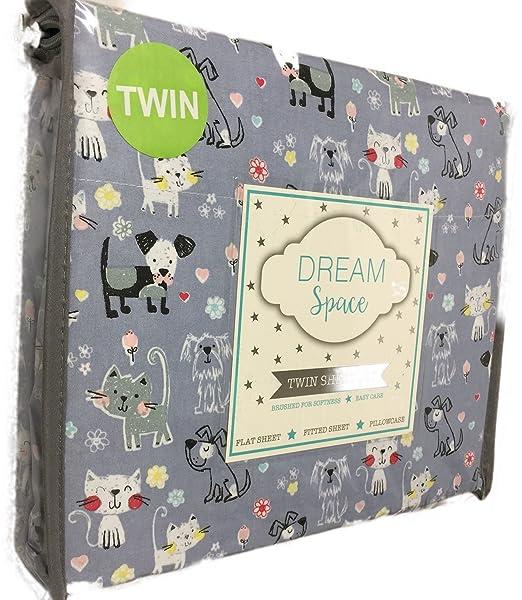 Sueño Espacio gatos, perros, flores, corazones sobre fondo gris ~ doble juego de sábanas: Amazon.es: Hogar