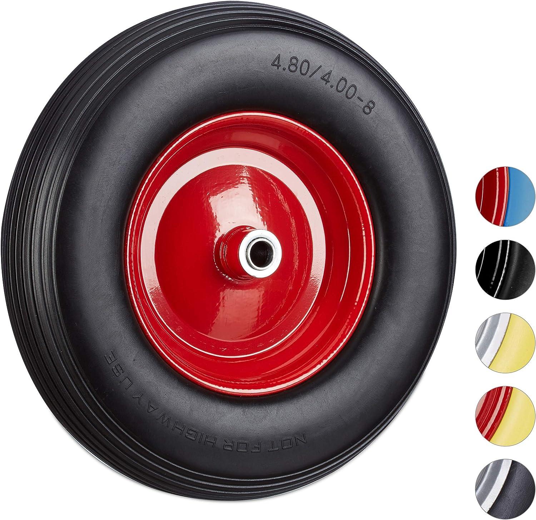 20 mm Achse Relaxdays 4 x Sackkarrenrad 150kg gelb-rot pannensichere Vollgummireifen Ersatzrad 260 x 85mm 3.00-4 Stahlfelge