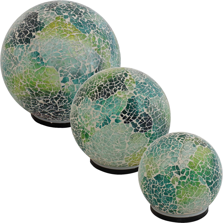 Sunnydaze Tabletop Lighted Garden Gazing Globes with Mosaic Design, Ocean Dreams Color, Set of 3