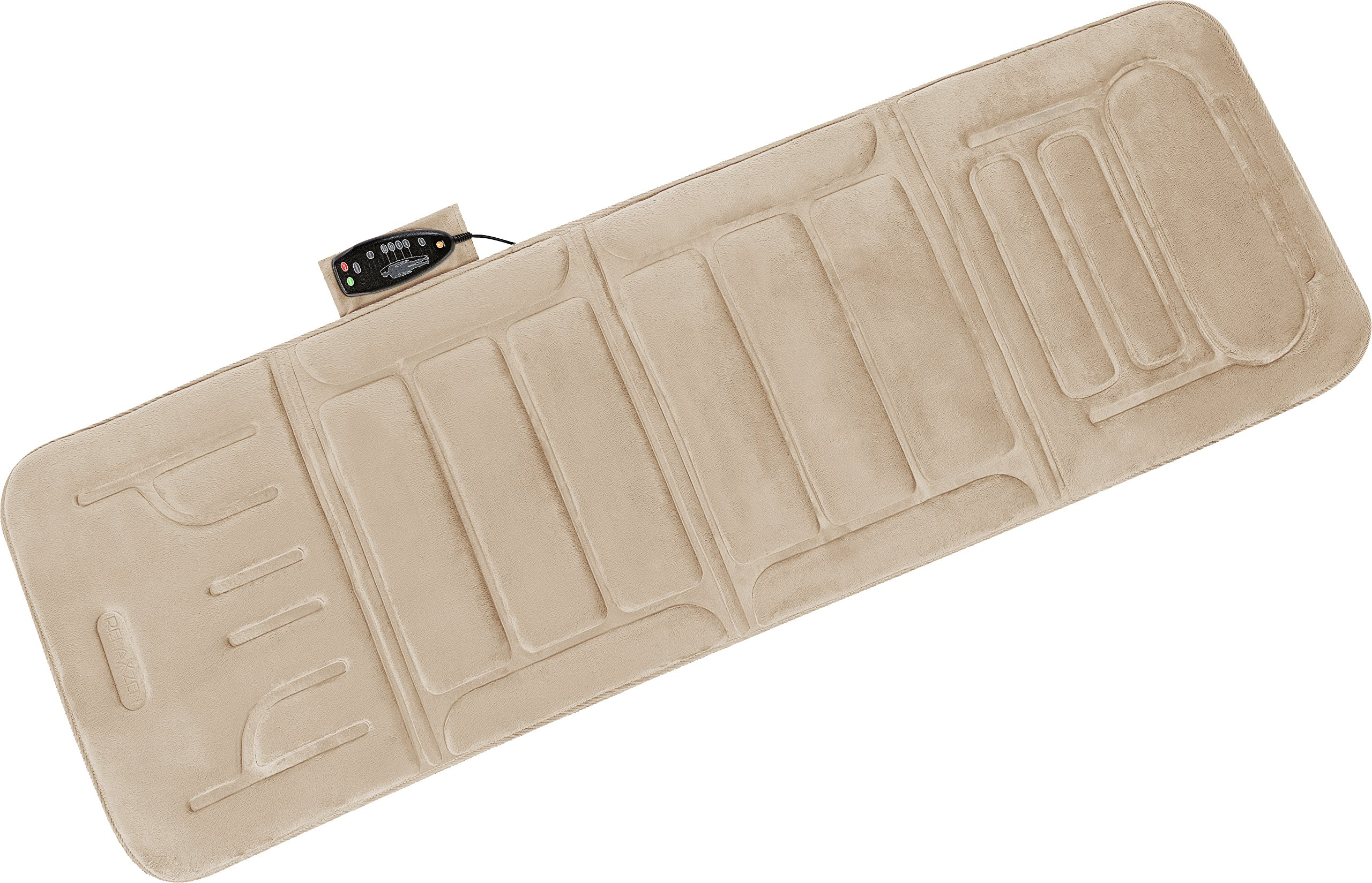 Relaxzen 10-Motor Massage Plush Mat with Heat and Extra Foam, Beige