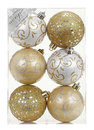 Weiß Christbaumkugeln Kunststoff.6 Stk Pvc Christbaumkugeln 8cm Gold Weiß Ornament Dekor