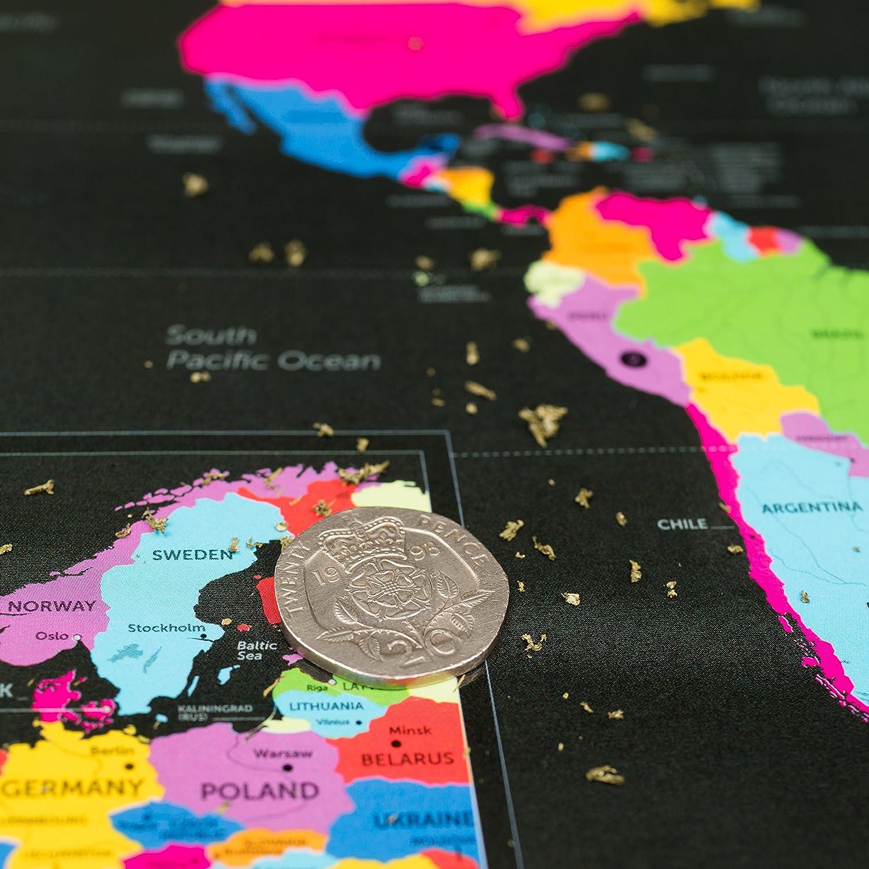 Englisch Weltkarte zum rubbeln mit den 7 Weltwunder
