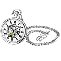 Mens Vintage Mechanical Pocket Watch - Stainless Steel Pocket Watch with Chain Analog Skeleton Watch Hand Wind Mechanical Watch with Clip and Stainless Steel Chain