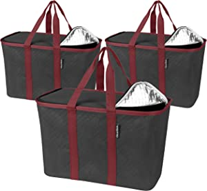CleverMade - 7020-0000-15303PK SnapBasket Insulated Reusable Grocery Shopping Bags with Reinforced Bottom and Zippered Lid, Collapsible Durable Food Delivery Totes, 30L Size, Charcoal/Berry, 3 Pack