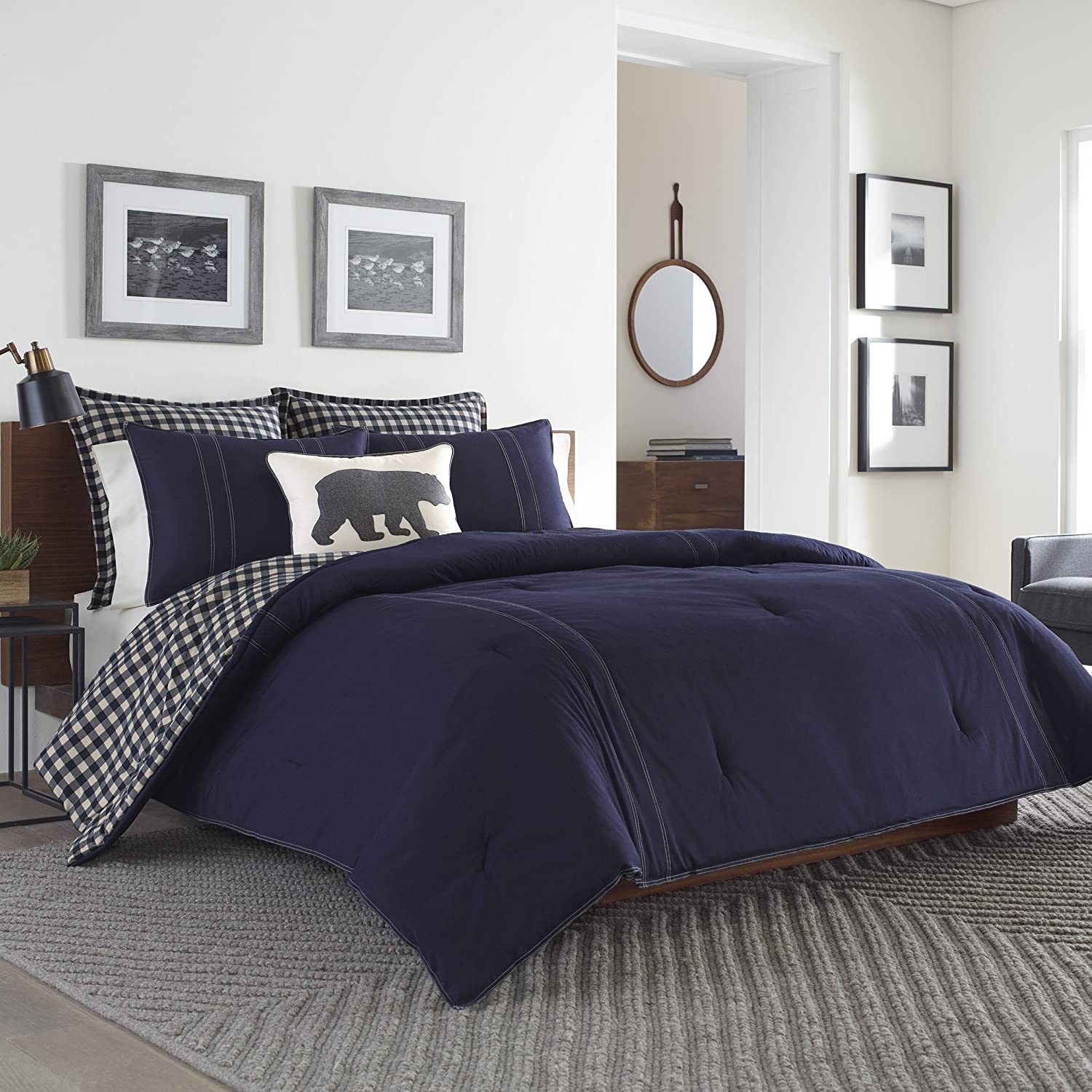 Navy Revman International Eddie Bauer 216693 Kingston Reversible Comforter Set Full//Queen