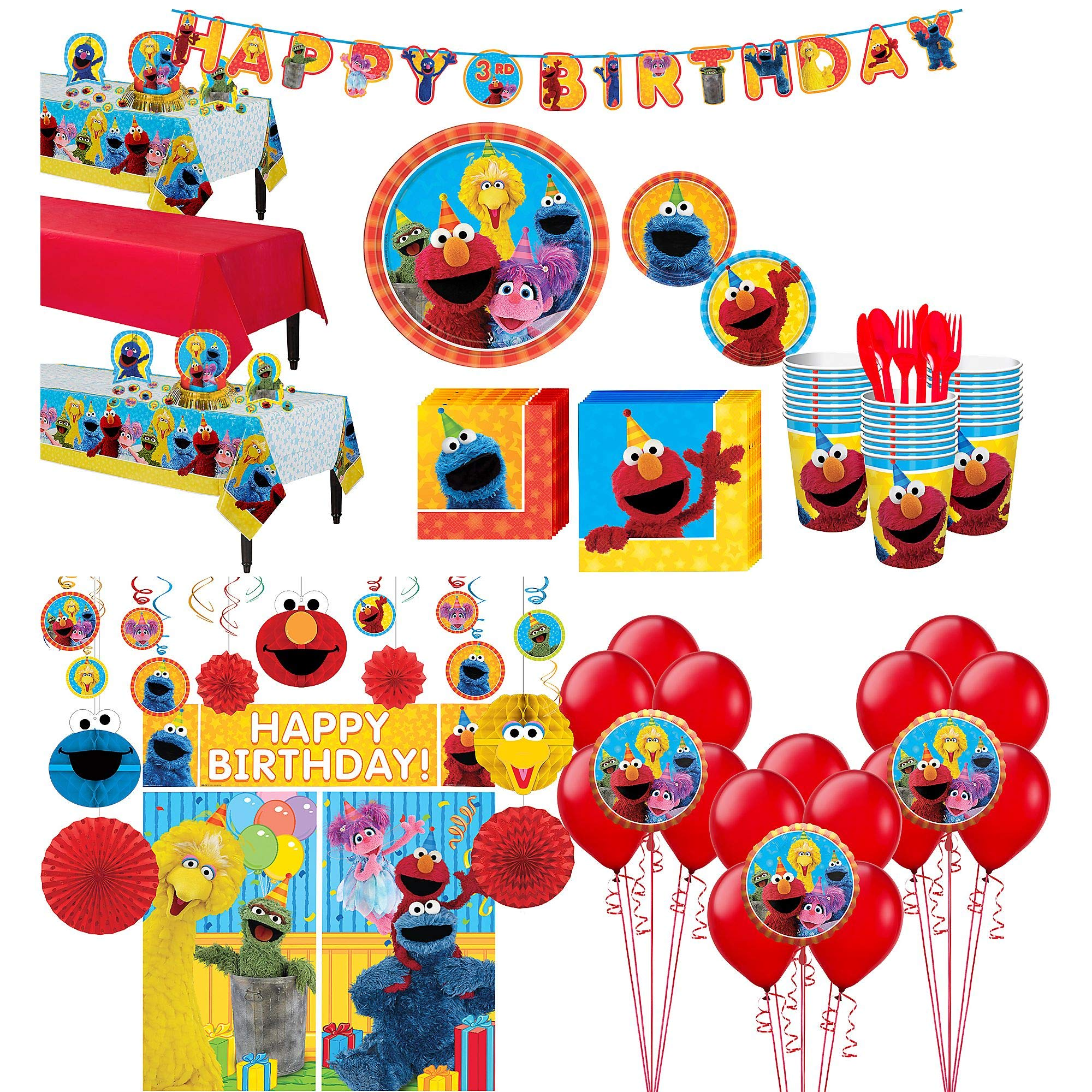 Party City Sesame Street Tableware Ultimate Kit and Supplies for 24 Guests, Includes Table Covers, Photo Props, Balloons