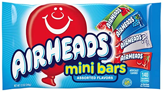 AirHeads Candy Variety Bag, Individually Wrapped Assorted Fruit Mini Bars for Halloween, Bulk, Party, Non Melting, 12 Ounces