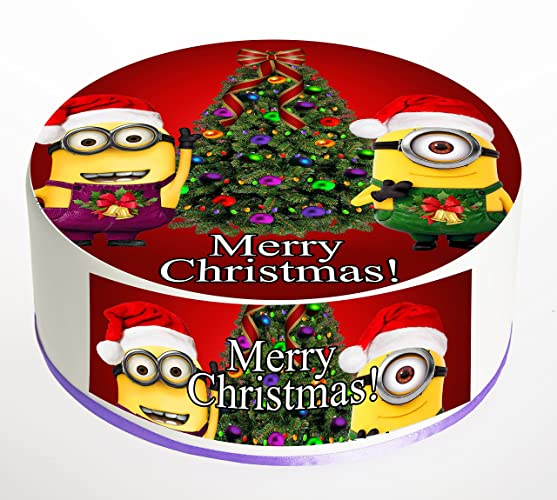 christmas cake topper despicable me minions merry christmas edible icing frosting sheet or rice paper wafer sizes available 75 inch 85 inch 95 inch