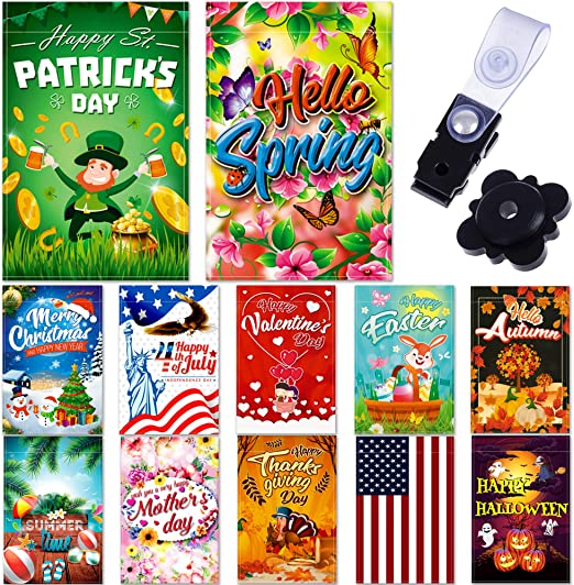 Amazon Com Seasonal Garden Flag Set Of 12 Pack 12 X 18 For Double Sided Outdoors Lawn Decor Polyester Premium Assortment Holiday Yard Flags Set And Festive Small Garden Flag To Bright