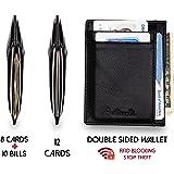 Slim Front Pocket Wallet RFID Card Holder Genuine Leather Minimalist Wallets
