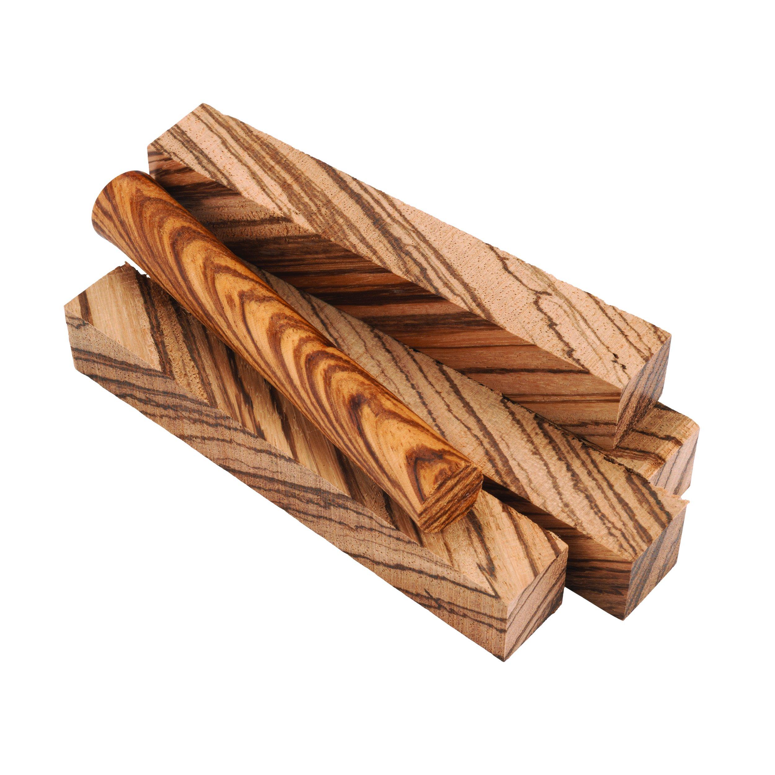 Diagonal Cut Zebrawood Pen Blank 5-pc