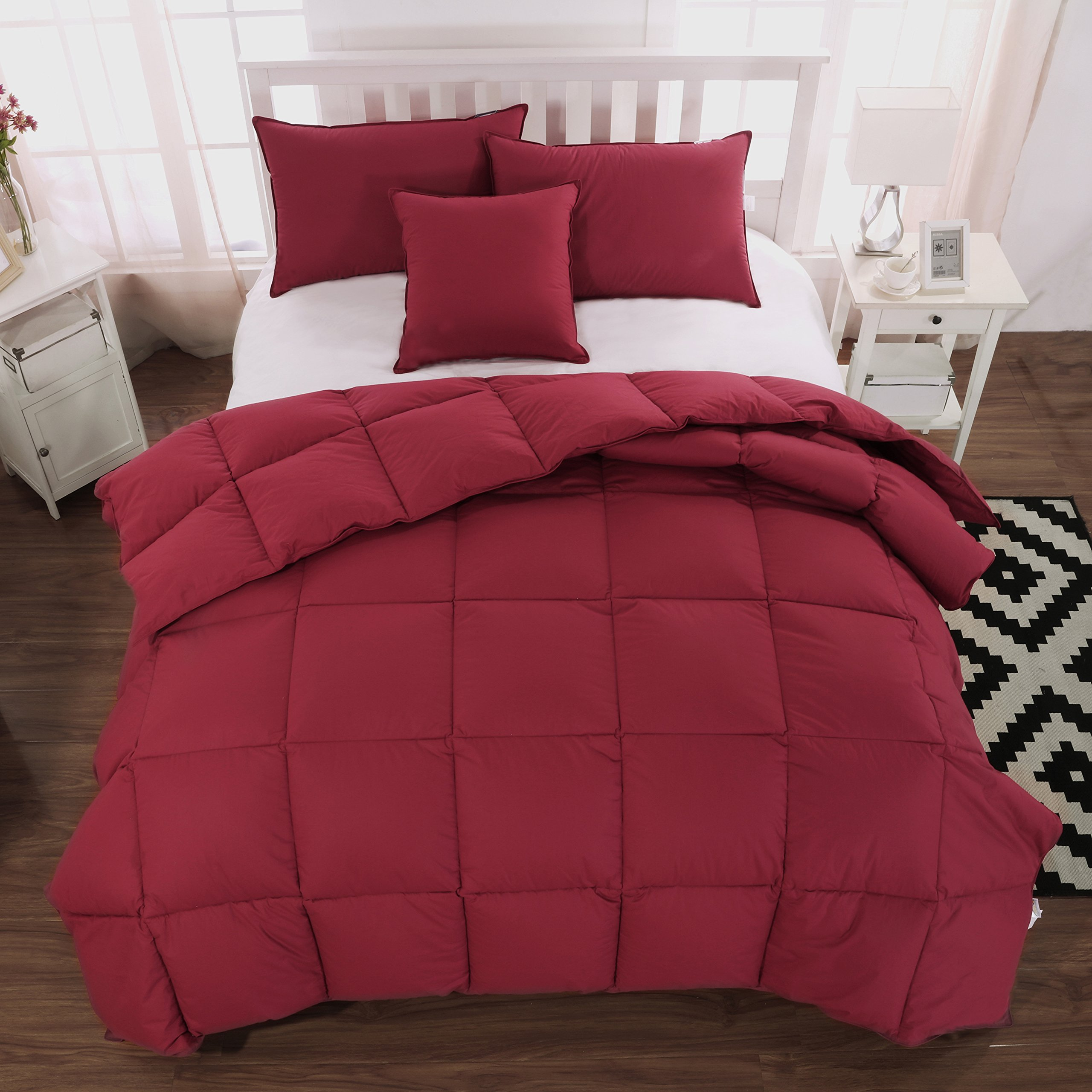 Live Down Goose Down Feather Comforter/Duvet/Quilt Winter 100% Organic Cotton (Cal King 108x94inch, Red)