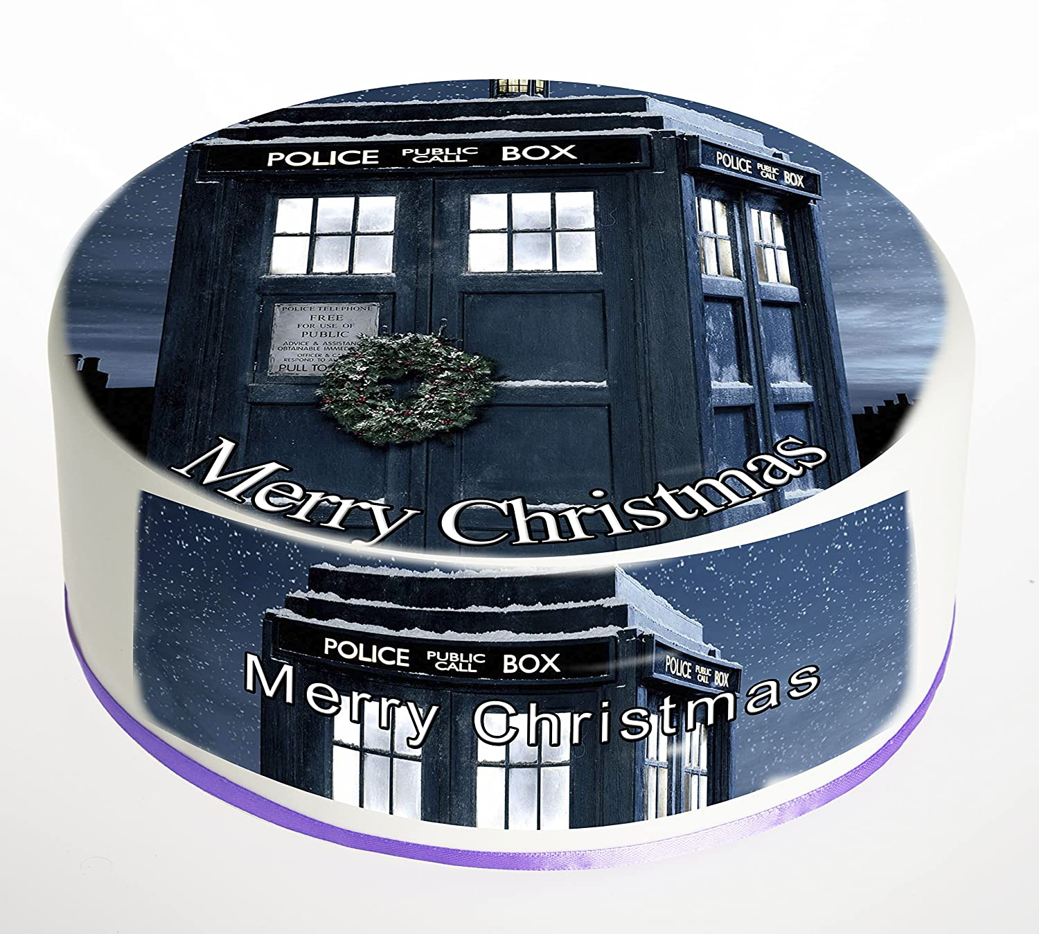 Christmas Cake Topper Doctor Who Tardis Merry Christmas Edible Icing Frosting Sheet or Rice paper Wafer. Sizes available: 7.5 Inch, 8.5 inch, 9.5 inch, 10.5 inch, 11.5 inch. Ideal for Christmas party, Christmas cake, Christmas decoration etc