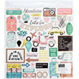 Crate Paper Here & There 48 Piece Chipboard Rose Gold Glitter Stickers