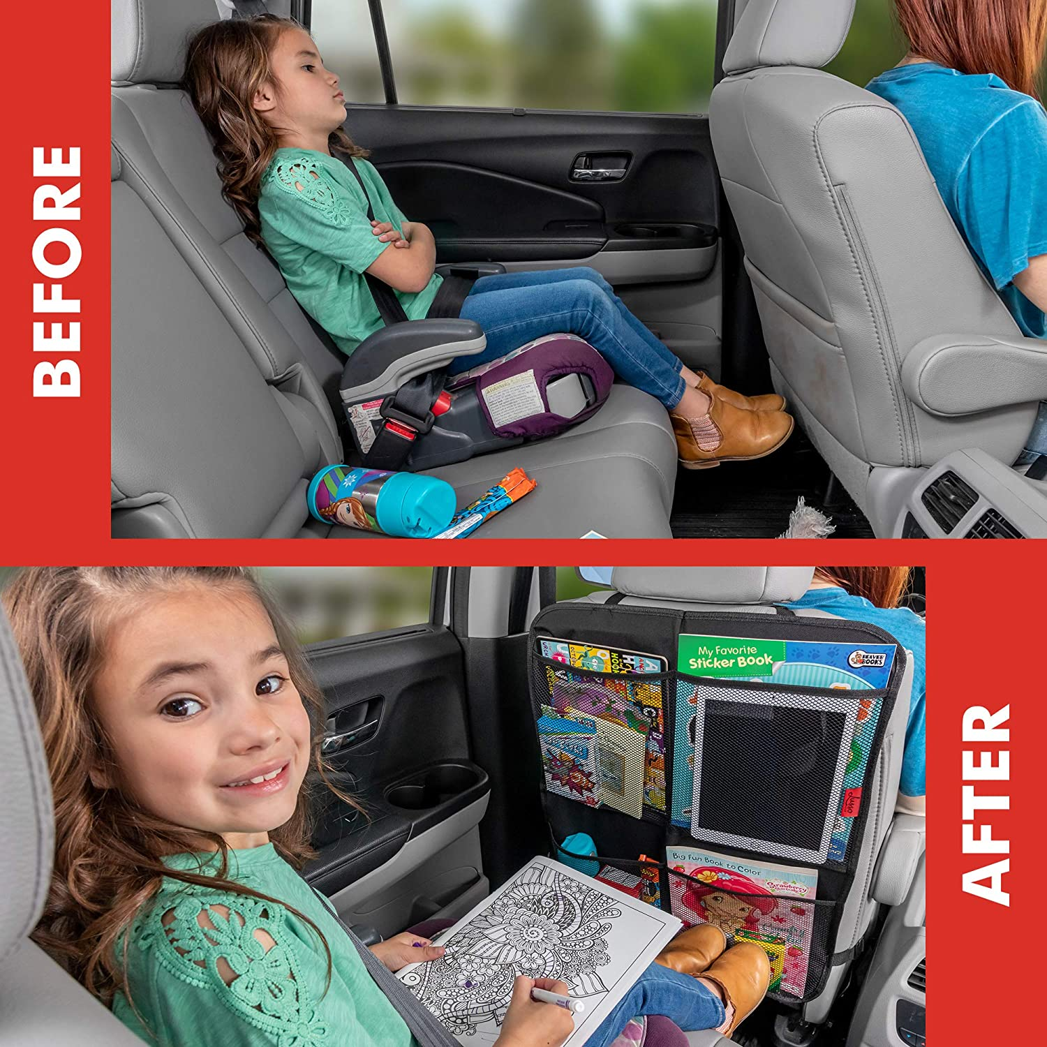 Premium Waterproof Fabric Kick Mats - Car Seat Back Protectors with Odor Free Reinforced Corners to Prevent Sag and 4 Mesh Pockets for Large Storage 2 Pack