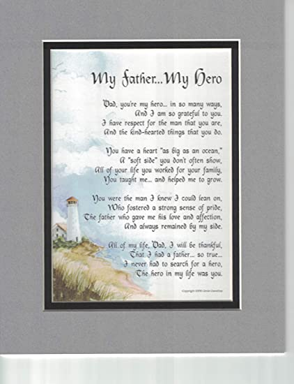 My Father Hero A Touching Sentimental Poem Present For Dads 60th 70th 80th Birthday