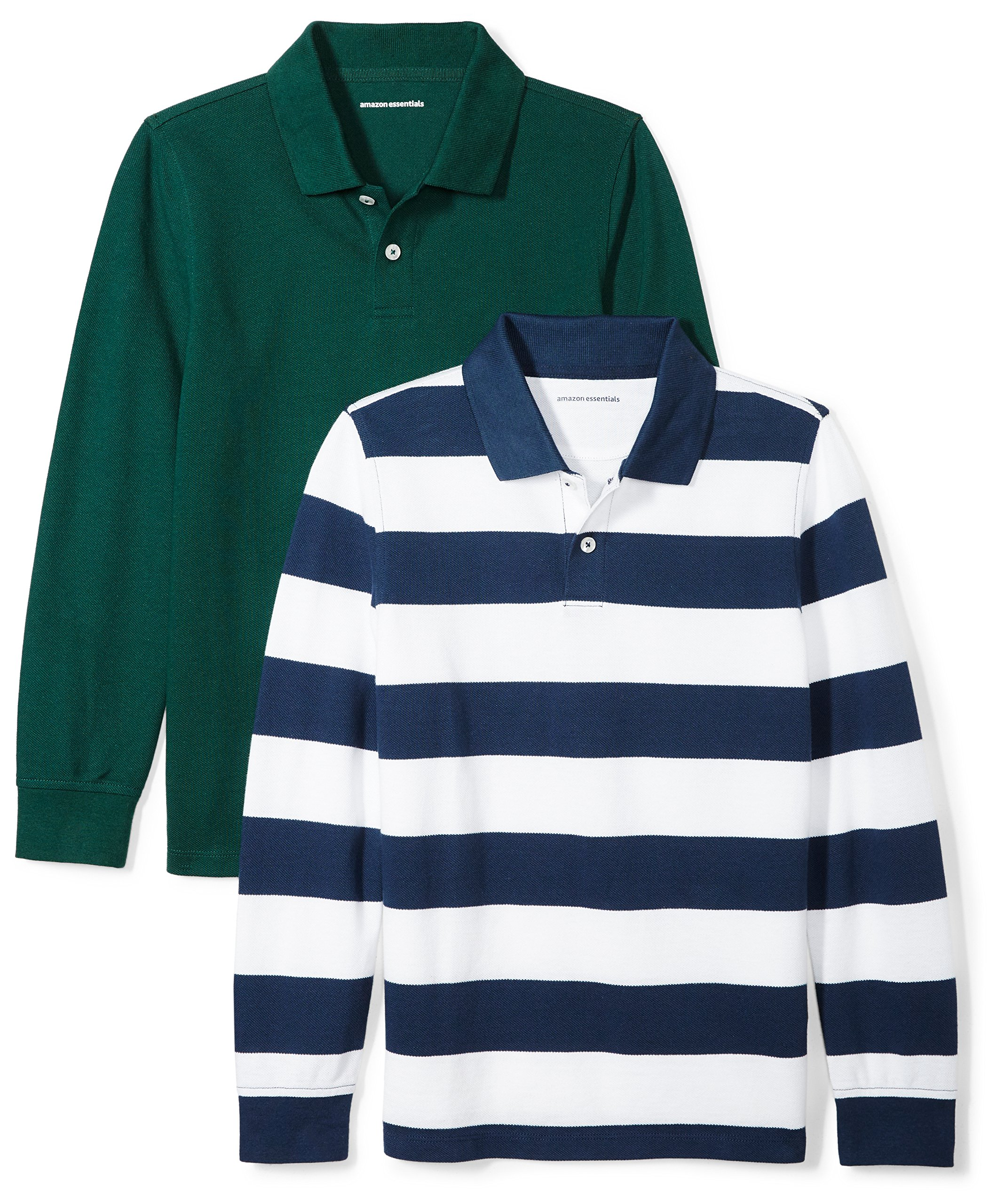 Amazon Essentials Boys' 2-Pack Long-Sleeve Pique Polo Shirt, Navy/Rugby White Stripe/Green, 4T