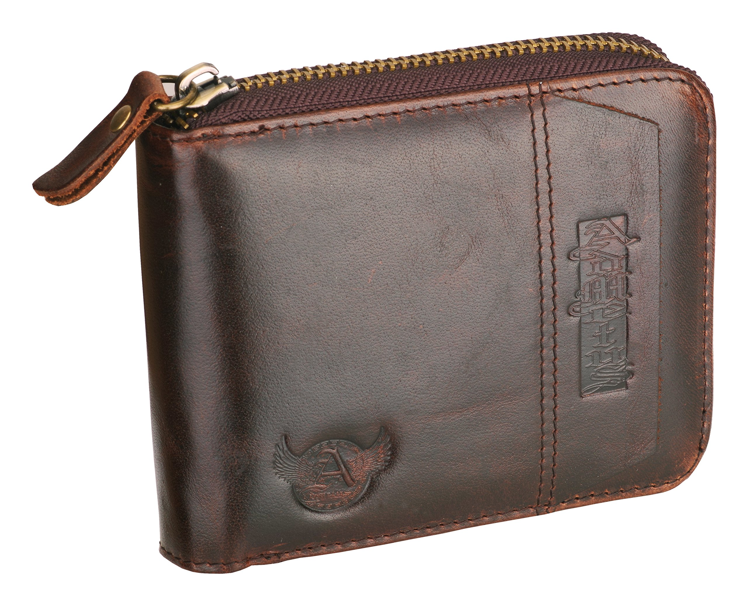 Admetus Genuine leather Zippered Bifold gifts for men wallet Exquisite gift ,Brown2