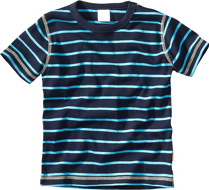 WELLYOU Camiseta de Manga Corta Azul Oscuro con Rayas turqesa, para niños 100% de algodón. Tallas 56-146: Amazon.es: Ropa y accesorios