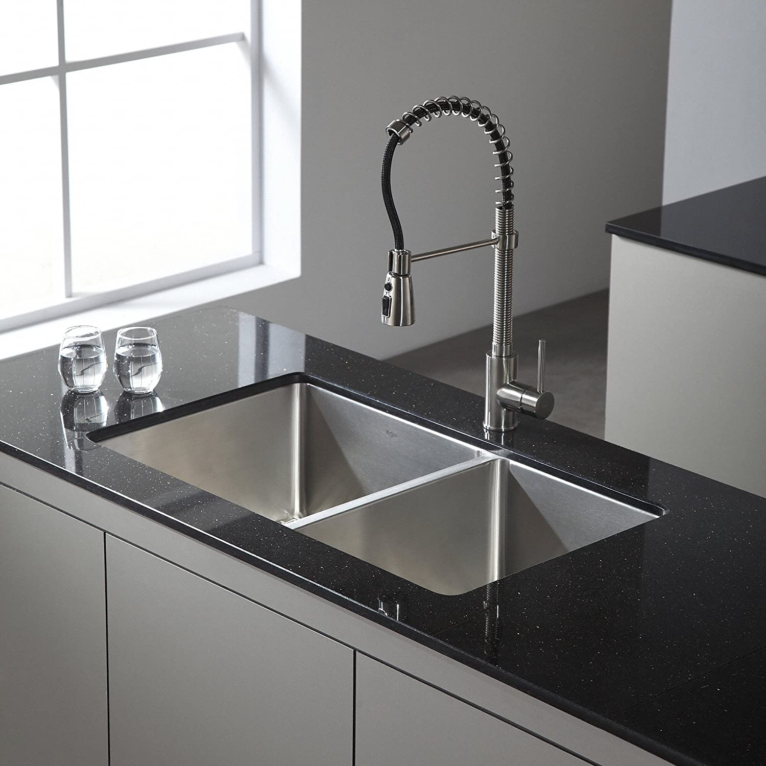 Kraus KPF-1612SS Single Lever Pull Down Kitchen Faucet in Stainless ...