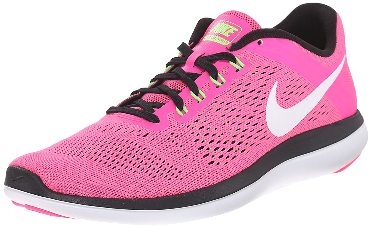 NIKE Women's Flex 2016 Rn Running Shoes B007ST0QUA 12 B(M) US|Pink Blast/White/Black/Electric Green