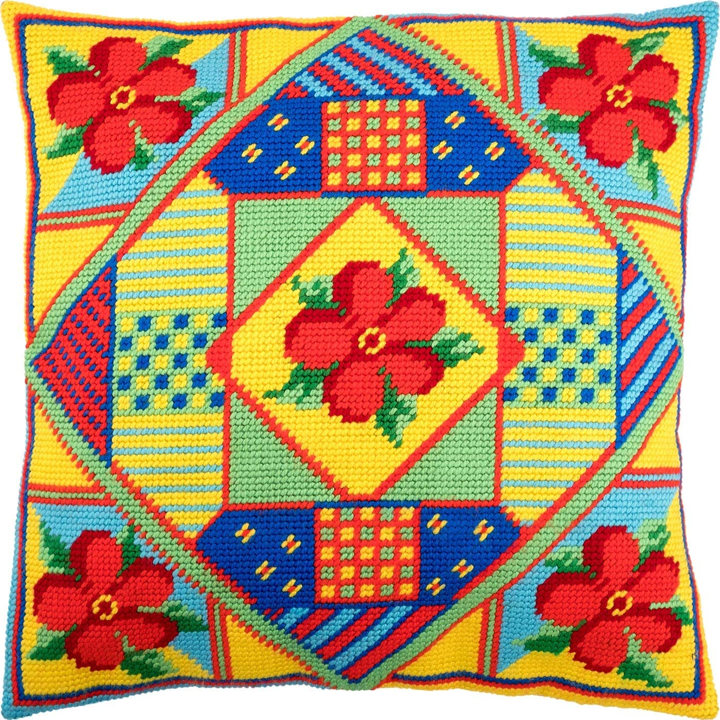 Flowers European Quality Needlepoint Kit Printed Tapestry Canvas Throw Pillow 16/×16 Inches
