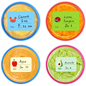 240 PCS Baby Food Labels Set in 2 Sizes and 45 Designs Water Resistant for Food Containers, Jars