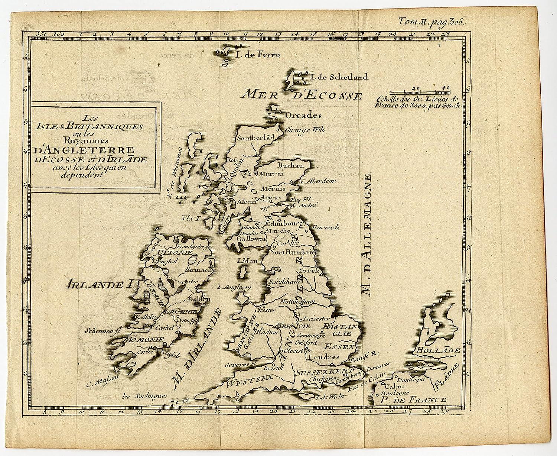 Cartina Geografica Inghilterra E Scozia.Uk Mappa Antica Inghilterra Scozia Irlanda Galles British Isles 1750 Amazon It Casa E Cucina