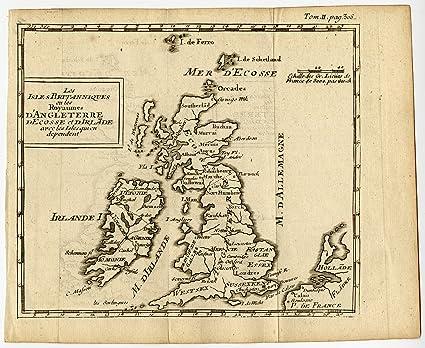 Cartina Inghilterra E Scozia.Uk Mappa Antica Inghilterra Scozia Irlanda Galles British Isles 1750 Amazon It Casa E Cucina