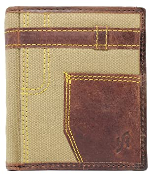 5d777ac1a0aa StarHide Unique Mens RFID Blocking Designer Distressed Hunter Canvas And  Real Leather Jeans Style Wallet With A Zipped Coin Purse - Gift Boxed - 610