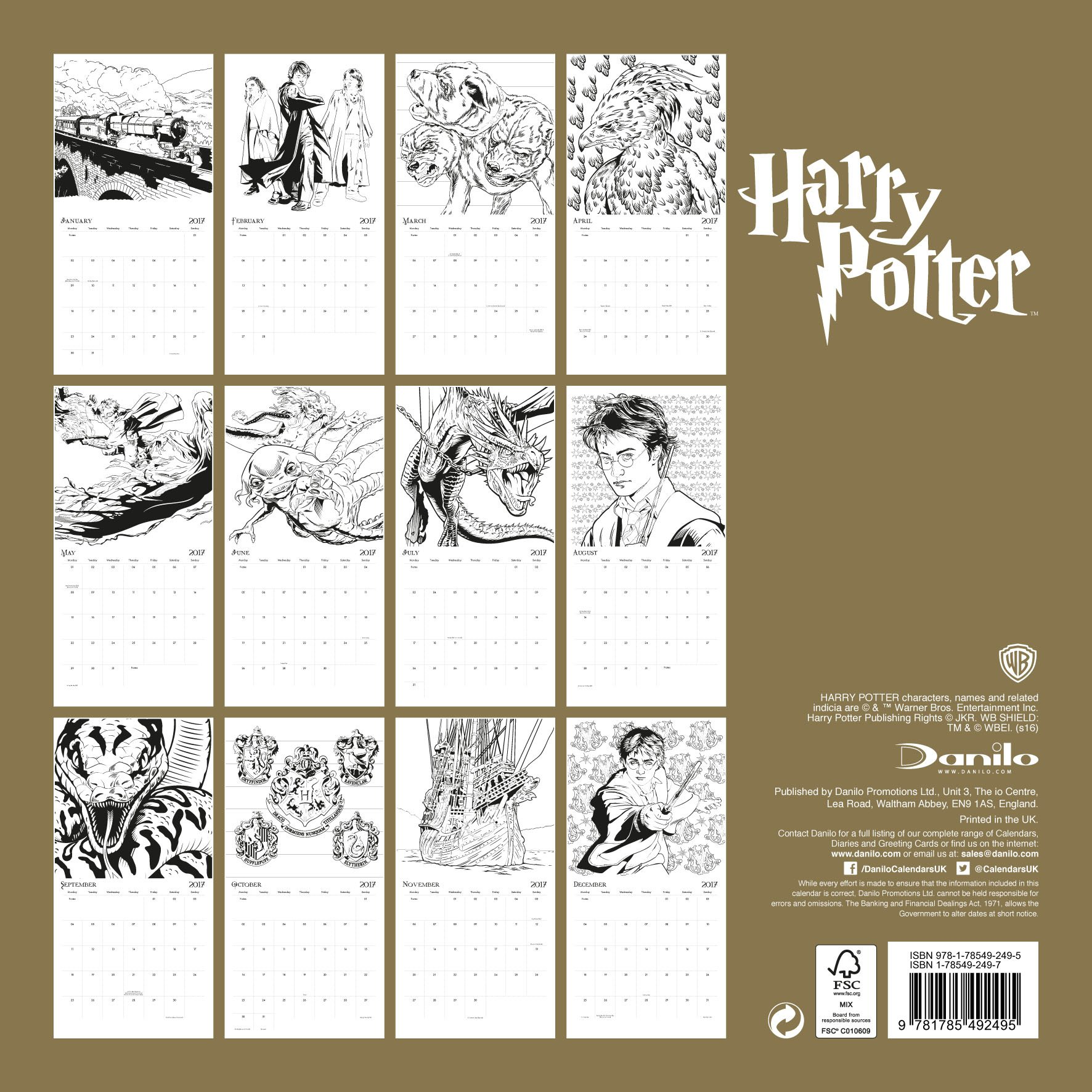 Harry Potter (Colouring in) Official 2017 Calendar: Amazon ...
