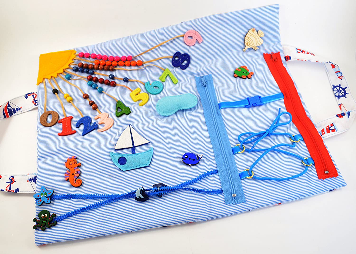 Fidget blanket for toddler Quiet travel toy Activity blanket Sensory blanket Busy blanket for 1 year old Dementia activity Autism therapy