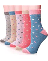 EBMORE Women Fashion Printed Thick Winter Casual Soft Warm Crew Socks 5-Pack
