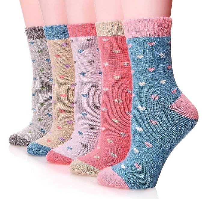 1950s Socks- Women's Bobby Socks Casual Soft Warm Crew Socks 5-Pack $14.99 AT vintagedancer.com