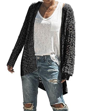 b9a14a23b7ff0d Saodimallsu Womens Boho Cardigan Sweaters Long Sleeve Oversized Knit Open  Front Sweater Tops Black