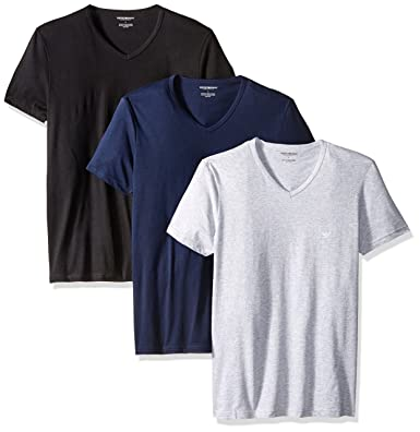 53a07167684a Emporio Armani Men s 3-Pack Regular Fit V-Neck Undershirt at Amazon ...
