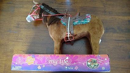 "18/"" Doll CHESTNUT HORSE Saddle Set for My Life as American Girl Boy Soft Fur Pet"
