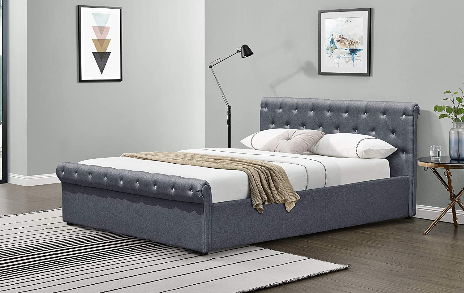 4FT6 Double, Linen Grey Home Detail Chesterfield Bed Frame in Crushed Velvet or Linen Fabric Double or King Size
