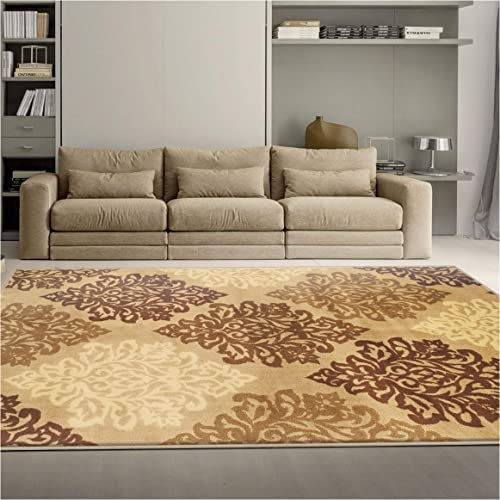 Superior Danvers Collection Area Rug, Modern Elegant Damask Pattern, 10mm Pile Height with Jute Backing, Affordable Contemporary Rugs – Beige, 5 x 8 Rug
