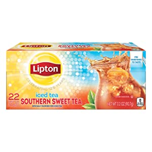 Lipton Southern Sweet Tea Iced Tea Drink Mix 22 Family Size Tea Bags 90.7g Box