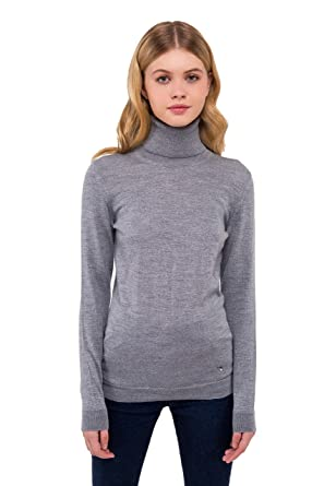 99629d4b27864b Women's Pure Merino Wool Turtleneck Sweater Long Sleeve Pullover Top (Gray  Melange, X-