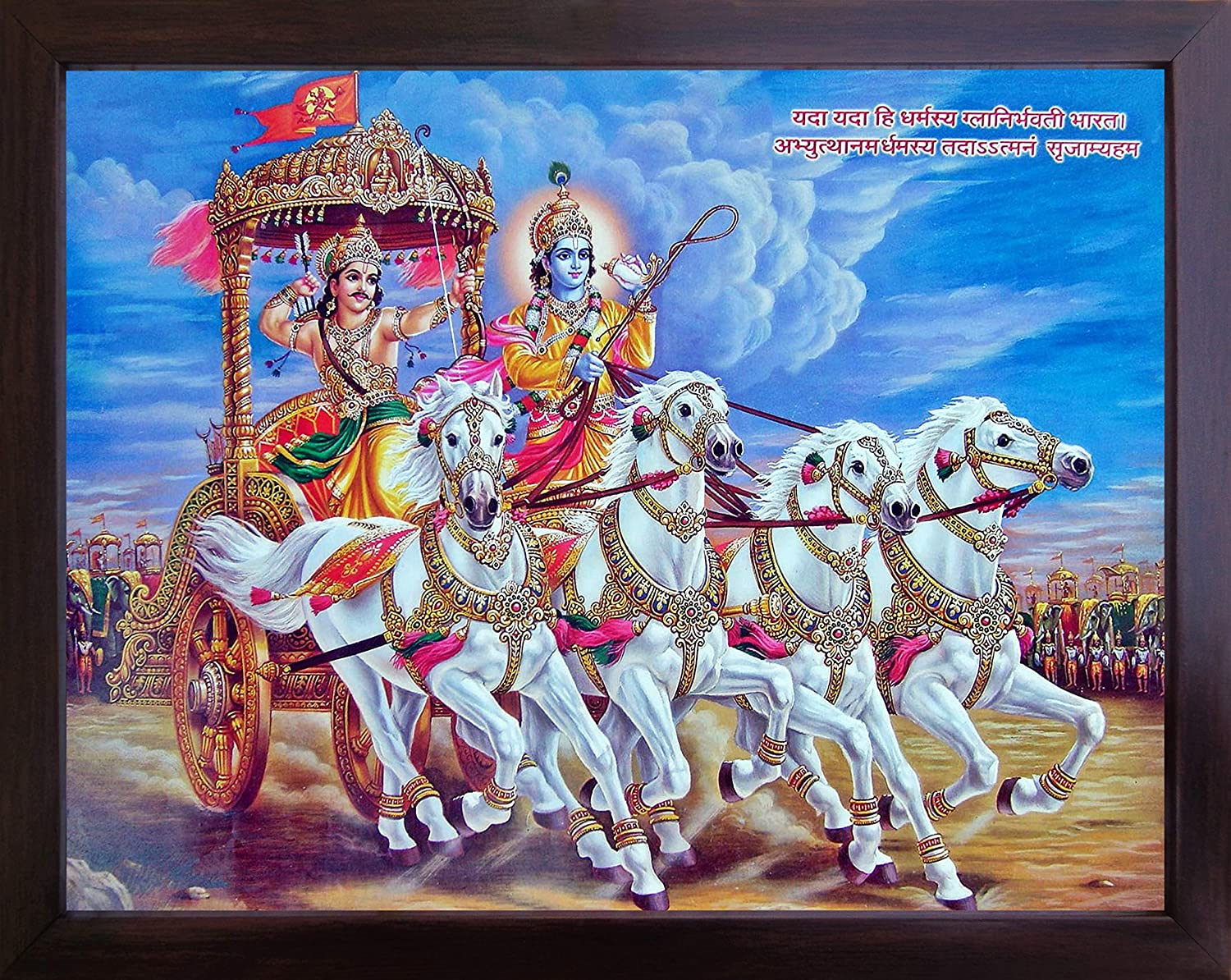 Handicraft Store Lord Krishna and Arjuna on Chariot During Mahabharata war, A Poster Frame for Home Decor