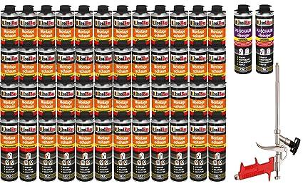 Set con pistola de espuma, 48 latas de 500 ml de espuma de PU de
