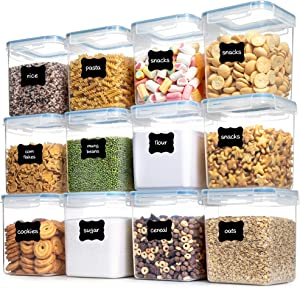 Airtight Food Storage Containers with Lids, HOOJO 12 PCS 2.5L (2.3qt /85oz) kitchen Storage Containers for Flour, Sugar, Cereals, Dry Foods, BPA Free Airtight Containers for Pantry Storage, Blue