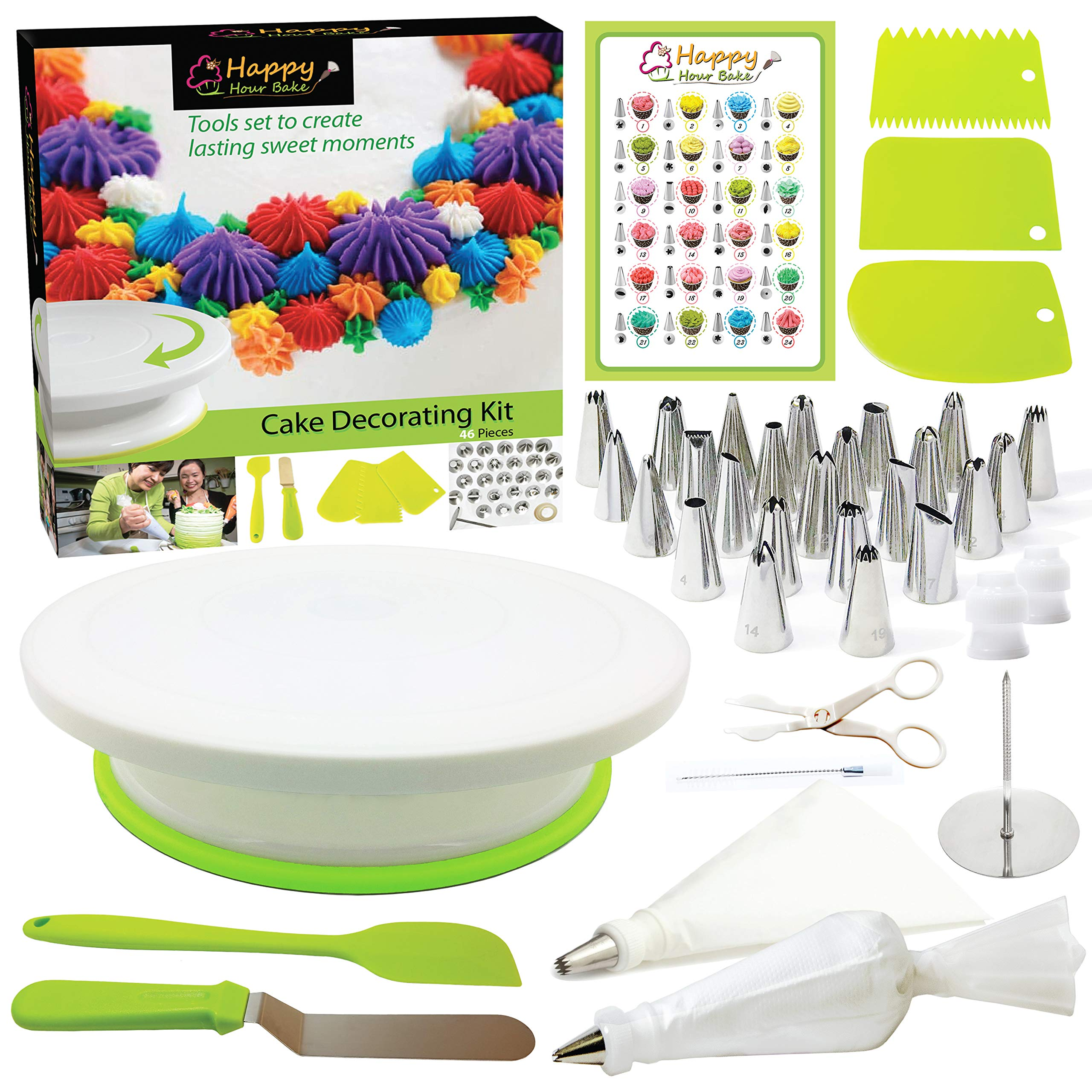 Happy Hour Bake 46pcs Beginner Cake Decorating Kit Baking Supplies with Rotating Cake Stand - Baking Kits for Adults or Kids- Cupcake Decorating Kit with Icing Bags and Tips- Cake Decorating Supplies by Happy Hour Bake
